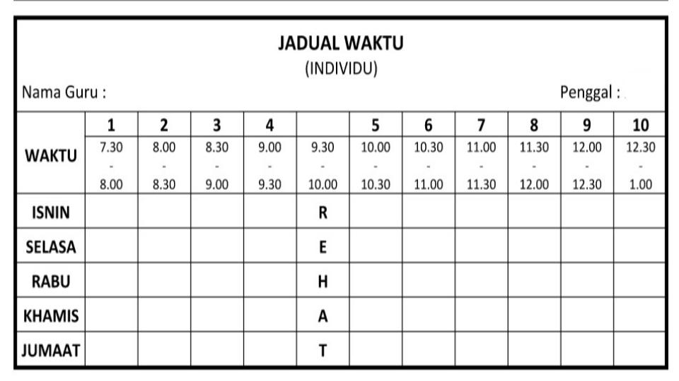 Template Jadual Waktu Word