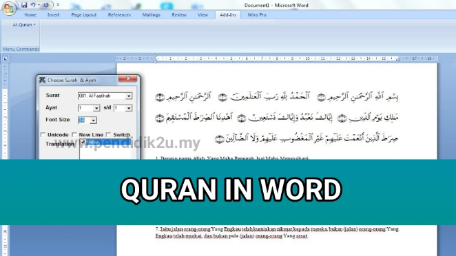 Muat Turun Quran in Word