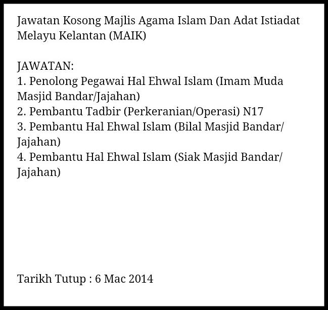 Jawatan Kosong Majlis Agama Islam dan Adat Istiadat Melayu Kelantan