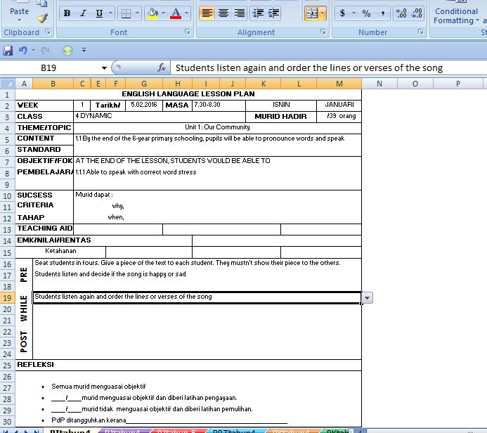 RPH Automatik Excel Mudah Klik Sahaja
