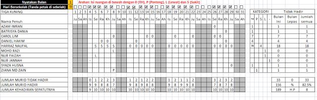 Template Excel Buku Rekod Kedatangan Murid