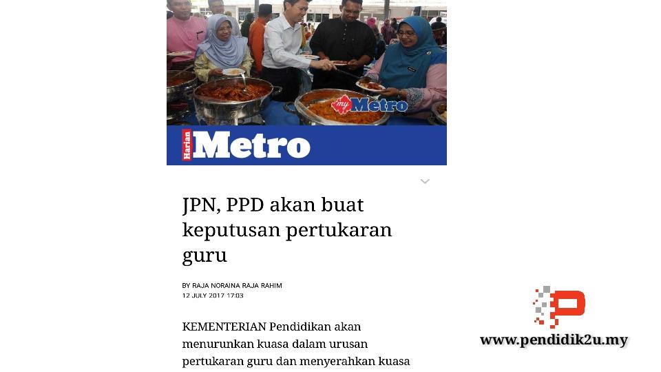 JPN dan PPD diberi kuasa buat keputusan pertukaran guru