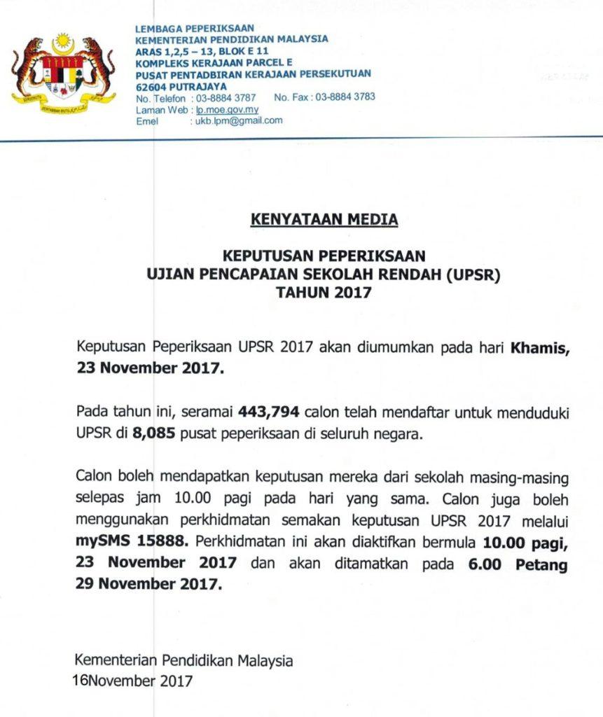 tarikh keputusan upsr 2017