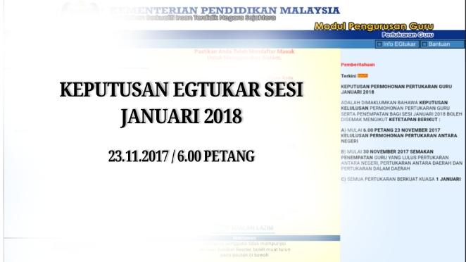 Keputusan eGtukar Sesi Januari 2018