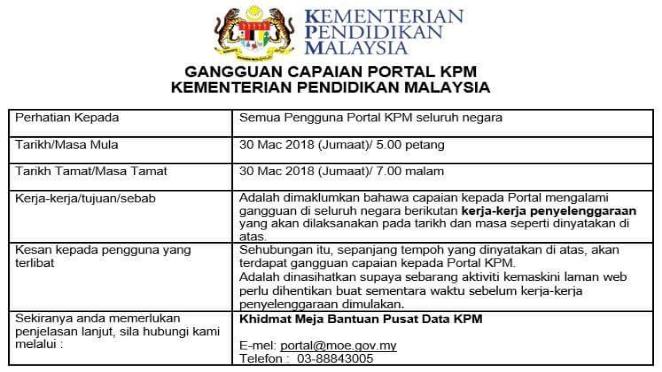 Gangguan Capaian Portal KPM