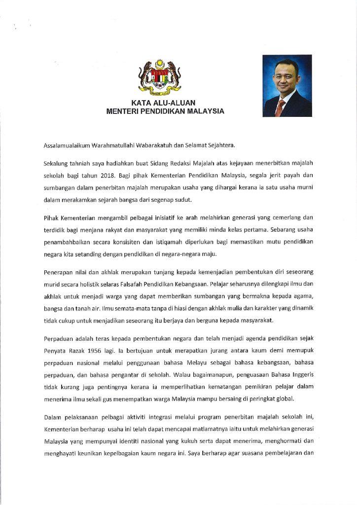 Kata Alu Aluan Menteri Pendidikan Untuk Majalah Sekolah Pendidik2u