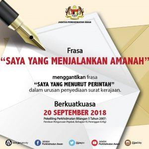 Saya Yang Menjalankan Amanah Berkuatkuasa 20 September 2018 Pendidik2u
