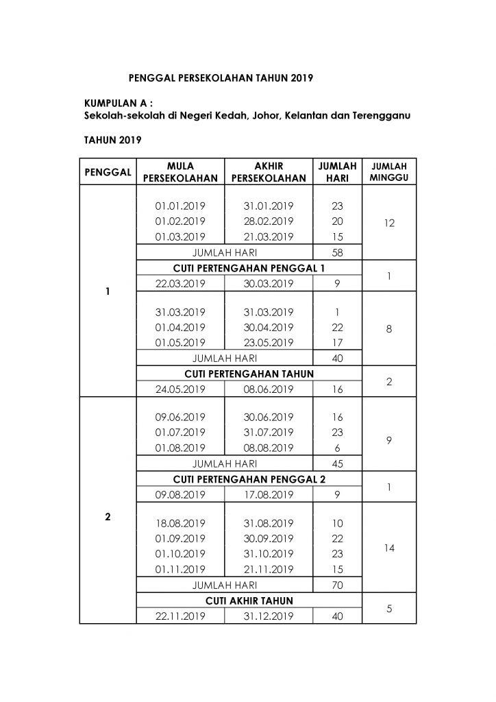 Jadual Persekolahan 2019