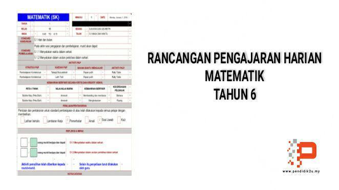 RPH Matematik Tahun 6 KSSR