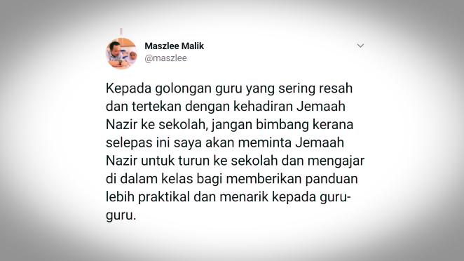 Nazir Juga Akan Tunjuk Cara Mengajar