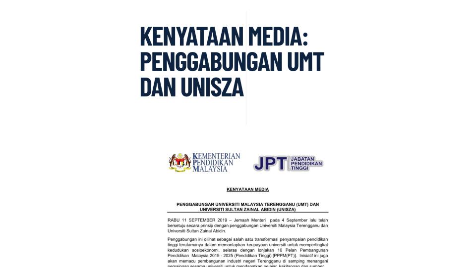 Kenyataan Media: Penggabungan UMT Dan UniSZA