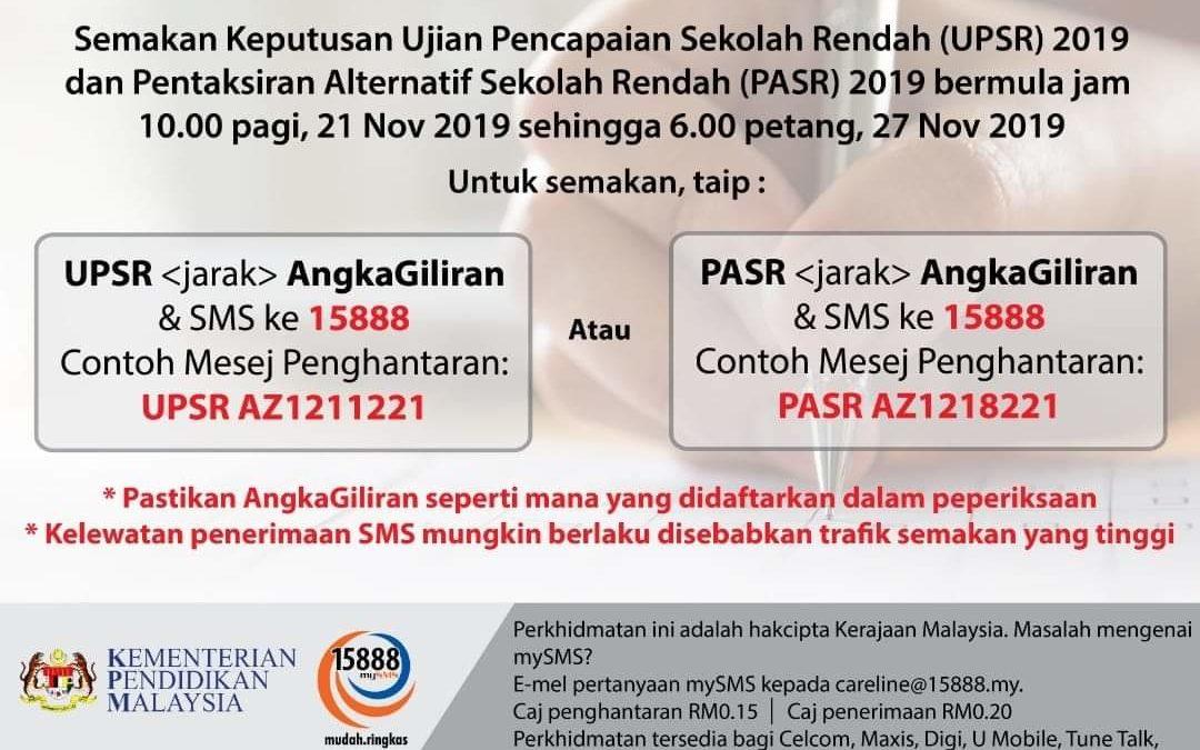 Keputusan UPSR 2019, 21 November