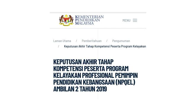 Keputusan Akhir Tahap Kompetensi  (NPQEL) Ambilan 2 2019