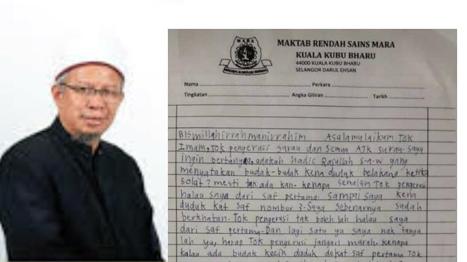 Adik Nadzrul hantar surat kepada Pengerusi Surau sebab tidak bagi duduk saf pertama