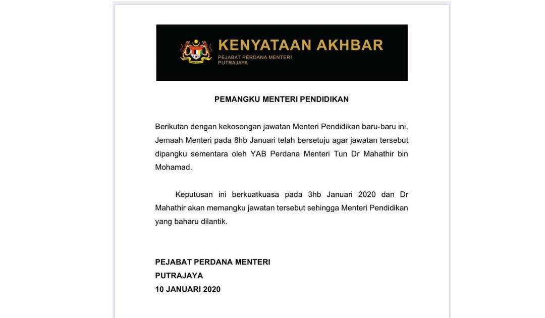 Tun Mahathir Pangku Sementara Jawatan Menteri Pendidikan
