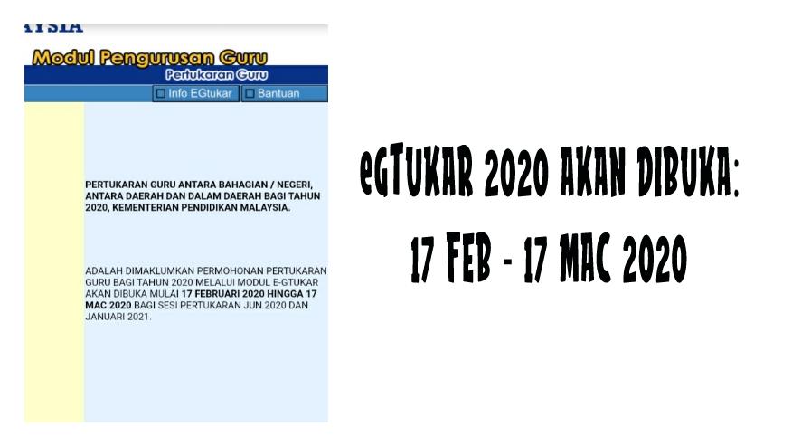 eGtukar 2020 dibuka 17 Februari
