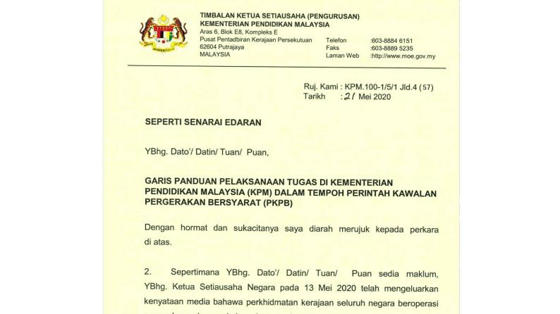 Garis Panduan Pelaksanaan Tugas Di Kementerian Pendidikan Malaysia (KPM) Dalam Tempoh Perintah Kawalan Pergerakan Bersyarat (PKPB)