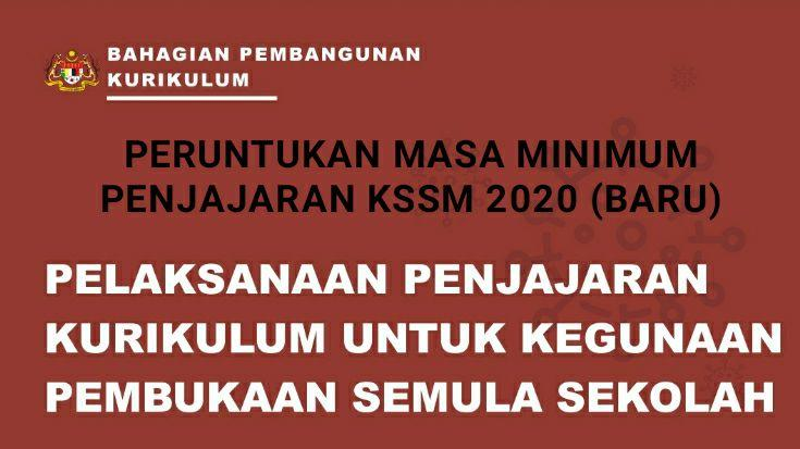 Peruntukan Masa Minimum Penjajaran KSSM 2020 (Baru)
