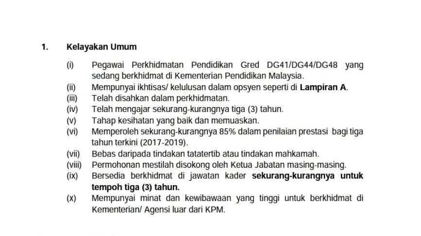 Jawatan Kosong Kader Bagi Pegawai Perkhidmatan Pendidikan di Kementerian/Agensi Dari Luar KPM