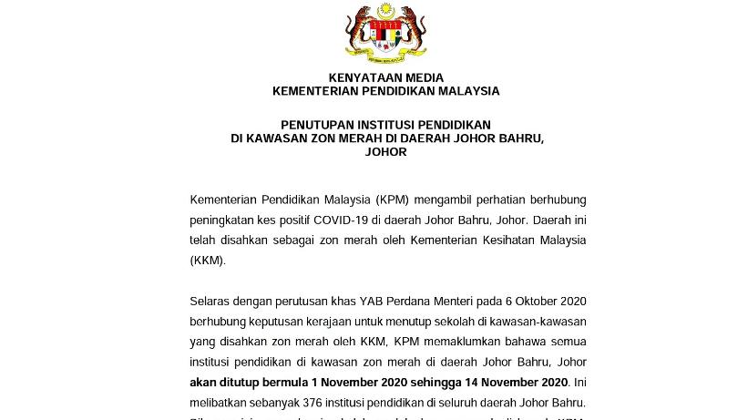 Sekolah di Daerah Johor Bahru Ditutup 14 Hari Kerana Zon Merah