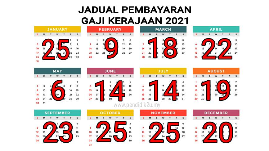 Jadual Pembayaran Gaji Kakitangan Kerajaan 2021