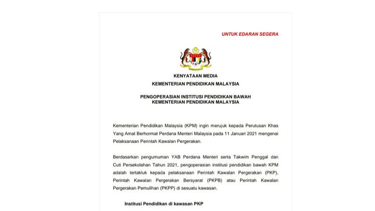 PENGOPERASIAN INSTITUSI PENDIDIKAN BAWAH KEMENTERIAN PENDIDIKAN MALAYSIA