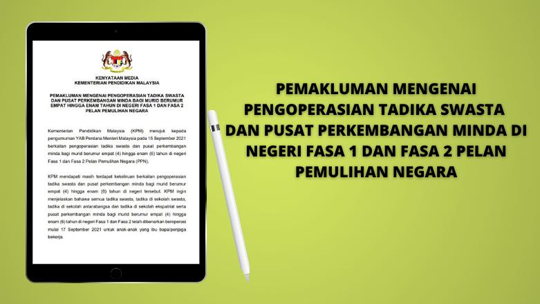 Tadika Swasta Dibenarkan Beroperasi Bermula 17 September 2021